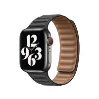 Apple Lederarmband mit Endstück Schwarz