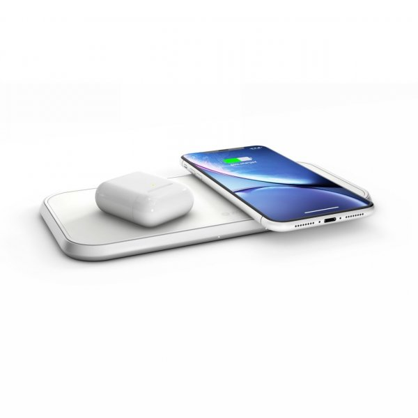 Zens Aluminium Dual Wireless Charger 10W, Qi, Weiß