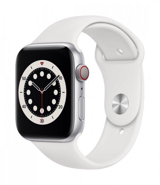 Apple Watch Series 6 Aluminium Silber, 44 mm, GPS, Sportarmband Weiß, Regular