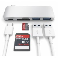 Satechi Type-C USB Passthrough Hub Silber